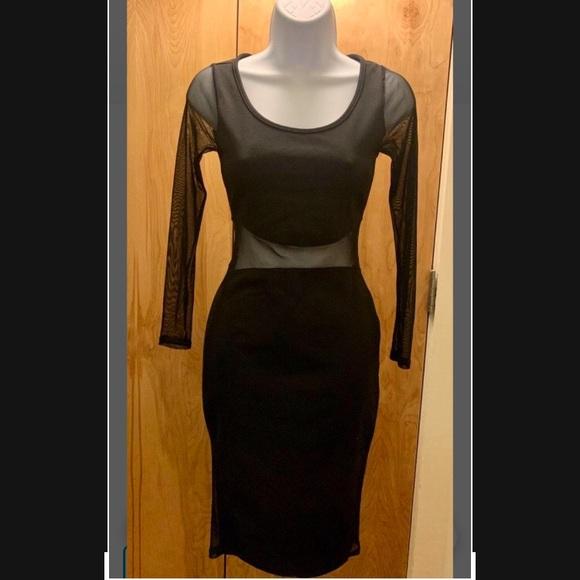 Black Mesh Panel Dress ♥️